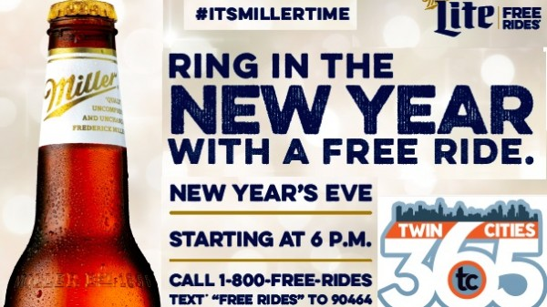 Miller Lite Free Rides on Metro Transit Routes back for New Years Eve